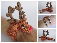 Loombicious 3D reindeer/Rudolph bracelet Rainbow Loom - YouTube