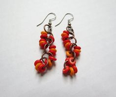 Red Orange Bone and Copper Chainmaille Dangle earrings by GypsyDreamerCafe, $12.50