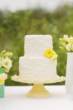 Bright Looking Simple Rustic Wedding Cake  Style: Rustic, Simple • Colors: White • 2-Tier • Buttercream • Shape: Round • Season: Summer