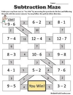 Maze worksheets for Adding Integers, Subtracting Integers, Multiplying and Dividing Integers, and One Step Equations. Addition Of Integers, Adding And Subtracting Integers, Addition And Subtraction, Integers Worksheet, Maze Worksheet, One Step Equations, Math Charts, Kids Math Worksheets, Grande Section
