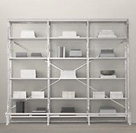 """108"""" French Library Shelving Polished Stainless Steel 
