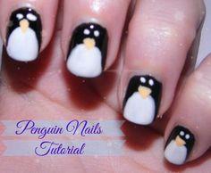 Super easy nail tutorial on Geek Gets Glam. #christmas #penguin #notd