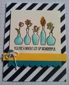 Here's a card I made at Stampin' Up! Leadership Conference. Total blast.  The stamp is Vivid Vases from the Occasions Catalog from Stampin' Up!  Get yours today! www.alisamawson.stampinup.net
