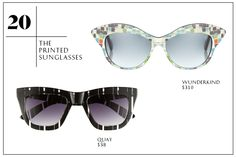 2013 Summer Wardrobe Essentials You Need: The Printed Sunglasses — Youre basically an expert on wearing prints-on-prints by now. The last frontier? Your sunglasses. Mosaic tiles, sketchy hashmarks, or an all-over floral will let you extend your expertise to your sunnies game this summer. Quay Retro Sunglasses; Wunderkind Mosaic Print Sunglasses.