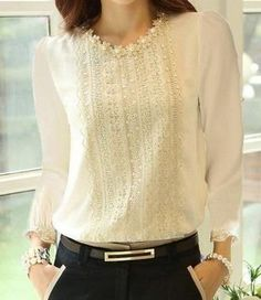 Spring New Fashion Women's Blouse Beige Embroidery Lace Blouse Chiffon Shirts Blouse Long Sleeve Beading Lace Shirt Women Blusas Spring Blouses, Chiffon Shirt, Lace Chiffon, Chiffon Fabric, Plus Size Blouses, Madame, Types Of Sleeves, Blouses For Women, Women's Blouses