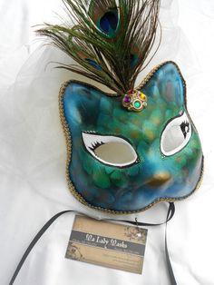 Peacock Kitty Cat Masquerade Mask. $38.00, via Etsy.