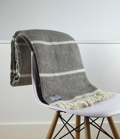 Grey and Natural Beige Throw Blanket 100 Percent by LondonBlankets