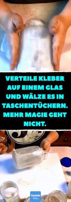 Verteile Kleber auf einem Glas und wälze es in Taschentüchern. Mehr Magie geht nicht. Geht auch mit einem Einhorn oder mit Elfen: Magische Feen-Einmachgläser. #fee #elfen #einmachgläser #bastelideen #diy