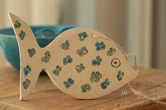 White Fish with Aqua Blue Flowers DecorationCeramic by Ceraminic
