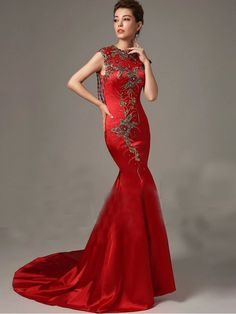 Red Fit and Flare Mermaid Satin Evening Dress with Open Back – JoJo Shop Pink Gowns, Satin Dresses, Silk Dress, Formal Dresses, Bride Dresses, Elegant Dresses, Red Wedding Gowns, Wedding Party Dresses, Wedding Frocks