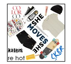 """""""Skater Girl"""" by youaresofashion ❤ liked on Polyvore featuring Monki, Converse, Anya Hindmarch, Too Faced Cosmetics, Rick Owens, Hollister Co. and skater"""