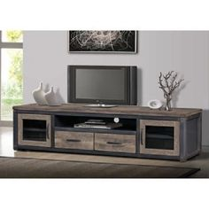 80 Inch Wood Rustic Tv Stand Storage Entertainment Center Console Reclaimed Look