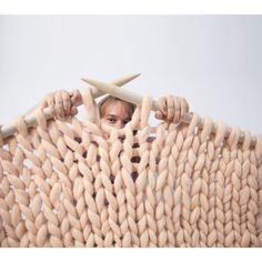 Knit Throw blanket. Thick and Soft Giant Rug from super bulky Merino Wool. Big stitch carpet by woolWow!
