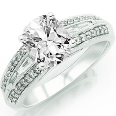 1.22 Carat Cushion Cut / Shape 14K White Gold Vintage Channel Set Tapered Baguette And Pave Set Round Diamond Engagement Ring