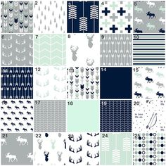 Mod Mint Forest (Modern Custom Crib Option) Baby Bedding, Crib Bedding, Navy Mint Gray Tribal Ferather Aztec Arrow Deer Moose Nursery