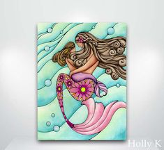 Mermaid Mother and Daughter painting  Fine Art by HollyvisionArt
