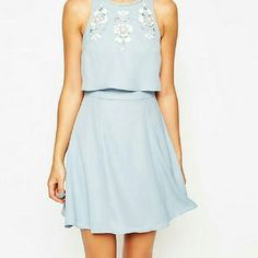 Pastel Blue Embellished Crop Top Dress Brand new, never worn.  Gorgeous pastel crop top skater dress with silver,  white and iridescent beading/embellishment.  Perfect for spring!  Bust: 41 inches  Waist: 33.5 inches  Hips: 43 inches  **NO TRADES** ASOS Dresses Midi