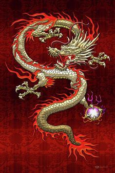 Golden Chinese Dragon Fucanglong On Red Silk by Serge Averbukh - Tattoo Thinks Japanese Dragon, Japanese Art, Japanese Prints, Fantasy Dragon, Fantasy Art, Fantasy Creatures, Mythical Creatures, Chinese Dragon Tattoos, Chinese Mythology