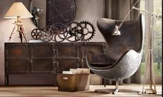 Industrial elements with touches of leather add an amazing touch to masculine spaces.