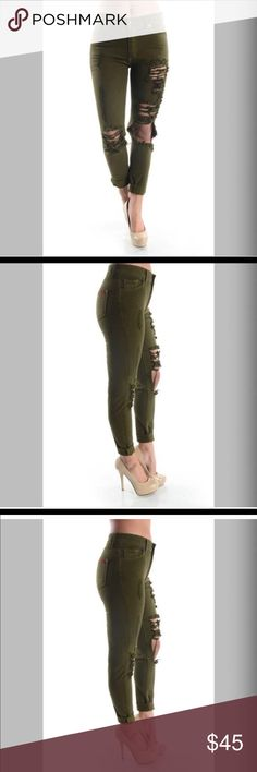 Olive green Girlfriend Jeans No Stretch Material High Waisted Girlfriend Jeans 100% Cotton Jeans Boyfriend