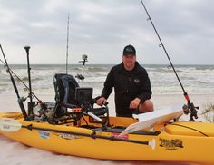 Barrett rigged his Hobie kayak with Yak Gear and Railblaza products for his beyond the breakers kayak fishing adventure.