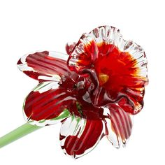 "Red Daffodil Each of our flowers in our entire collection is a One-of-a Kind, Handmade piece,. They feature a transparent pure green stem that extends the overall length to approximately 20"" The artis"