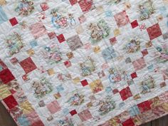 Baby Girl Quilt, Peter Rabbit Jemima Puddleduck Mrs Rabbit, Cottage Chic Quilt, Beatrix Potter Nursery READY TO SHIP by bellazahn on Etsy https://www.etsy.com/listing/224823503/baby-girl-quilt-peter-rabbit-jemima