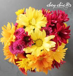 Love, love these assorted fall daises for your chic wedding! - Chey Chic Weddings