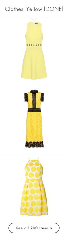 """Clothes: Yellow [DONE]"" by jmn312 ❤ liked on Polyvore featuring dresses, yellow, crepe dress, crepe fabric dress, yellow dress, david koma, david koma dress, knee-length, knee length lace dress and yellow lace dress"