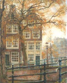 Reguliersgracht hoek Keizersgracht, Amsterdam  -  Willem Gerard Hofker  Dutch painter 1902 - 1981