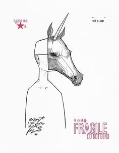 Zombie Unicorn Mask print by Matty Cipov