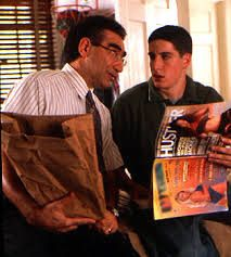 American Pie (1999) | Jim's dad tries to have the sex talk with him, buying him Hustler magazines to peek his desire.