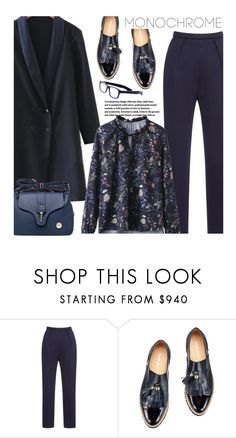 """""""Work Wear: One Color, Head to Toe - Purplish Blue"""" by beebeely-look ❤ liked on Polyvore featuring eyebobs, StreetStyle, casual, monochrome, sammydress and oversizedcoats"""