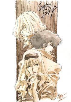Faye & Spike & Julia (Cowboy Bebop) by Hiroki Kanno Comic Art