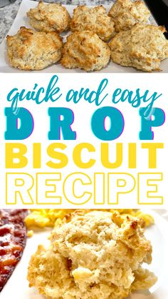 If you love biscuits, and you don't have time to make them, try this quick and easy drop biscuit recipe! Quick Drop Biscuit Recipe, Easy Drop Biscuits, Simple Recipes, Great Recipes, Favorite Recipes, Learn To Cook, Food To Make, Southern Breakfast, Southern Biscuits