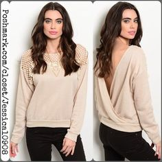 """Creamy Sand Crochet Trim Plunging Back Sweater Creamy Sand Crochet Trim Plunging Back Sweater   Available in Sizes: S-M-L Length: 22""""   Color: Cream/Sand Fabric Content: 60% POLYESTER 40% COTTON  Features:  • crochet yoke • long sleeves  • ribbed trim • plunging back (gorgeous)!!!  Also available in cream in a separate listing  ** If you'd like to purchase please let me know & I'll create a personal listing for you **   Bundle discounts available  No pp or trades Pretty Persuasions Sweaters"""