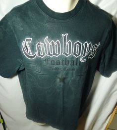 Dallas Cowboys T Shirt Medium Black on Black  Cool T Shirt with a gothic look for the Cowboys fan.