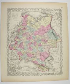 Original Russia Map Poland Ukraine Map 1856 Colton Map, Unique Wedding Gift for Couple, Genealogy Historic Map, Antique Russian Wall Art available from OldMapsandPrints on Etsy