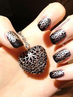 silver filigree nails
