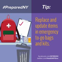 If it's been awhile since you packed your #emergency to-go bag or supply kit, set a time to go through it. Replace items such as expired food, over-the-counter medicines and out-of-season clothing. Also, update personal documents such as your family plan and emergency contact list. www.Facebook.com/NYSDOH