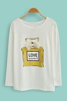 #SheInside White Long Sleeve Cosmetic Print Bow T-Shirt