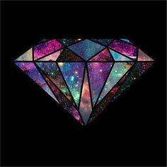 black, diamond, galaxy, sky, stars