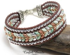 Beaded Leather Cuff Bracelet - Green, Copper, and Silver Herringbone Beaded Leather Wrap Bracelet - Superduo Bracelet Beaded Leather Wraps, Leather Cuffs, Leather Jewelry, Beaded Jewelry, Beaded Bracelets, Crochet Bracelet, Pandora Bracelets, Jewelry Necklaces, Brown Leather