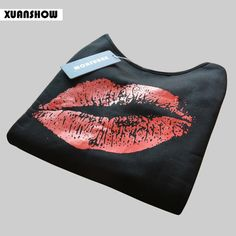 2017 Plus Size Women Sweatshirts Sexy Red Big Lips Printed Off Shoulder Long-Sleeved Edge Pullovers Hoodies Sudaderas Mujer
