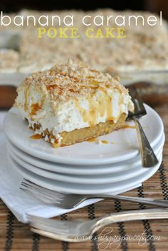 Banana Caramel Poke cake: deliciously, moist banana cake topped with caramel, Cool Whip and JELL-O pudding.