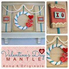 I love the use of different materials for this Valentine's Day Mantle by Anna K Originals!
