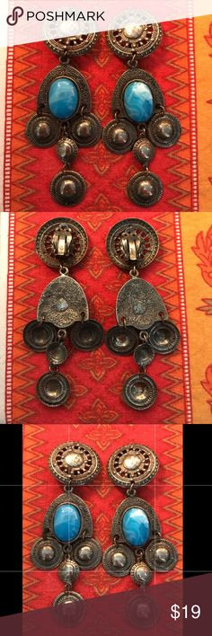"Vtg Old Mexican Silver Blue Dangle Clip Earrings Vintage CLIP earrings - 3.5"" Drop. Vintage Jewelry Earrings"