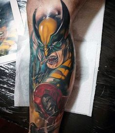 Deadpool With Wolverine Mens Leg Sleeve Tattoo