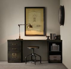 1940′s Industrial Modular Desk System with 3-Drawer File Cabinet Restoration Hardware $1795