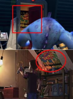 toy poster After this monster runs out of a kids room screaming, you can see a Paul Bunyan poster on the wall in Toy Story, Sid has the exact same poster. Here Are 21 Small Details From quot;Monsters, Inc. That You Mightve Missed The First Time Disney Fun Facts, Disney Jokes, Disney Cartoons, Billy Crystal, Paul Bunyan, Disney Pixar, Disney Characters, Disney Easter Eggs, Mike And Sulley